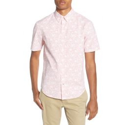 Squiggle Flower Slim Fit Short Sleeve Button-Down Shirt