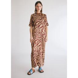 GANNI Silk Stretch Satin Dress in Tannin   Need Supply Co.
