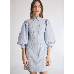 GANNI Stripe Cotton Button Down Dress in Brunnera Blue   Need Supply Co.