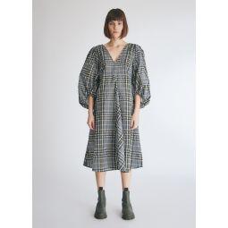 GANNI Seersucker Check Dress With Balloon Sleeve in Kalamata   Need Supply Co.
