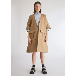 GANNI Double Cotton Wrap Dress in Tannin   Need Supply Co.