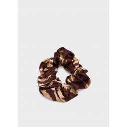 GANNI Silk Stretch Satin Scrunchie in Tannin   Need Supply Co.