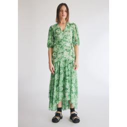 GANNI Printed Mesh Dress in Island Green   Need Supply Co.