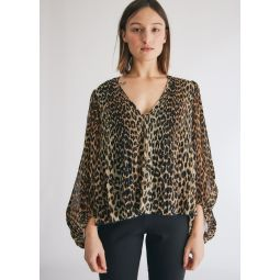 GANNI Pleated Georgette Blouse in Leopard   Need Supply Co.