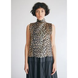 GANNI Silk Stretch Satin Top in Leopard   Need Supply Co.