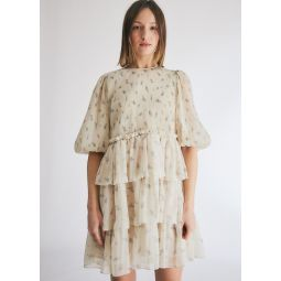 GANNI Pleated Georgette Dress in Egret   Need Supply Co.