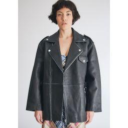 GANNI Grain Leather Coat in Black   Need Supply Co.