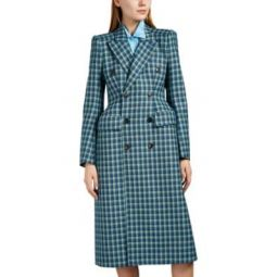 Checked Wool Hourglass Coat