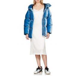 Velvet Down-Quilted Puffer Coat