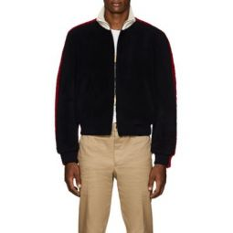 Colorblocked Shearling Bomber Jacket