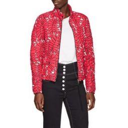 Palm-Leaf-Pattern Down Puffer Jacket