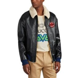 Chateau Marmont Sherpa-Lined Leather Aviator Jacket