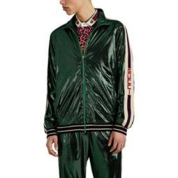 Metallic Laminated Tech-Jersey Track Jacket
