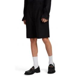 Wool Hopsack Pleated-Front Shorts