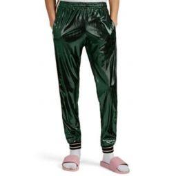 Metallic Laminated Tech-Jersey Jogger Pants