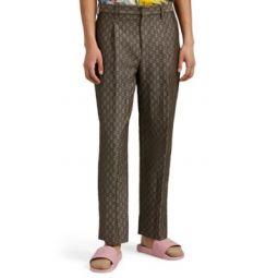 GG-Pattern Cotton-Wool Straight Trousers