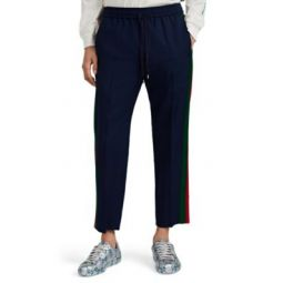 Contrast-Striped Wool-Mohair Crop Track Pants