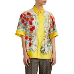 Poppy-Print Silk Button-Down Shirt