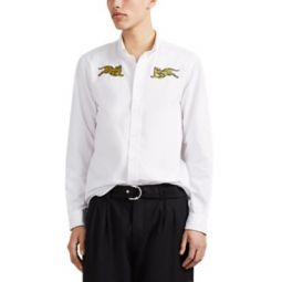 Tiger-Embroidered Cotton Shirt