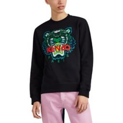 Embroidered-Tiger-Logo Cotton Crewneck Sweatshirt