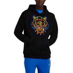 Tiger-Embroidered Cotton Hoodie