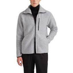 Wool-Blend Fleece Zip-Front Jacket