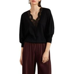 Lace-Inset Wool-Silk V-Neck Sweater