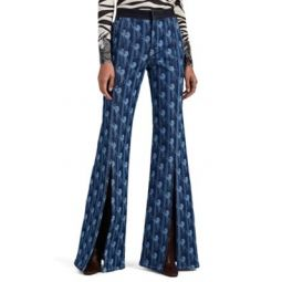 Horse-Print Flared Jeans