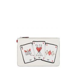 Playing-Card-Motif Leather Pouch