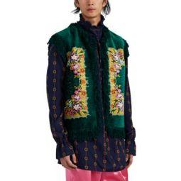 Fringed Floral Chenille & Basket-Weave Vest