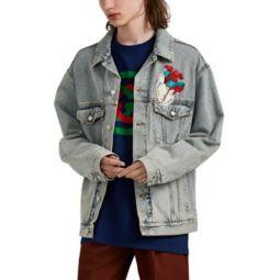Embroidered Denim Oversized Trucker Jacket