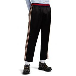 Embroidered Satin Track Pants