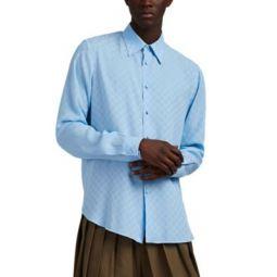 GG-Logo Silk Jacquard Button-Front Shirt