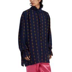 Buckle & Web Striped Silk Oversized Shirt