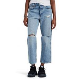 Low Slung Crop Distressed Jeans