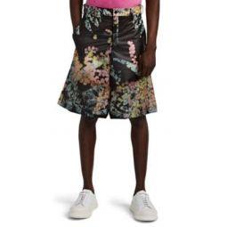 Kaleidoscope-Print PVC Oversized Shorts