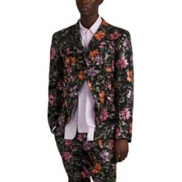 Floral-Embroidered Ruched Tulle Sportcoat