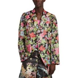 Blurred-Floral PVC Slashed Sportcoat