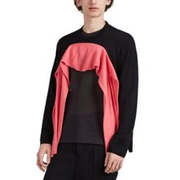 Colorblocked Wool Open-Front Sweater