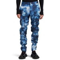 Ruched Tie-Dyed Satin Trousers