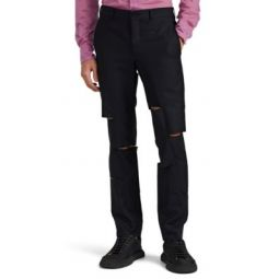Slashed Wool-Blend Trousers