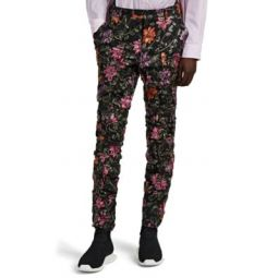 Floral-Embroidered Ruched Tulle Trousers