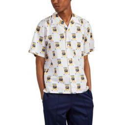 Rice Bags Print Cotton Camp-Collar Shirt