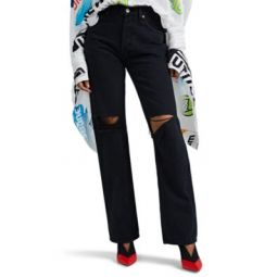 Distressed High-Rise Loose Jeans