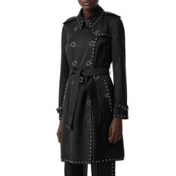 Studded Silk Satin Trench Coat