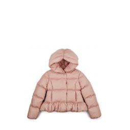 Kids Ruched Down-Quilted Hooded Puffer Coat