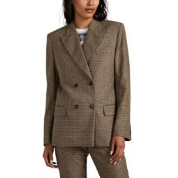 70s Houndstooth Wool-Blend Double-Breasted Blazer