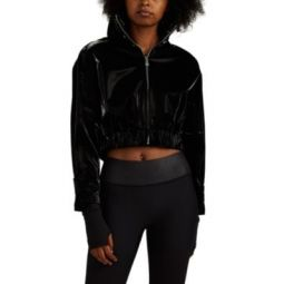 Kelli Lacquered-Effect Crop Jacket