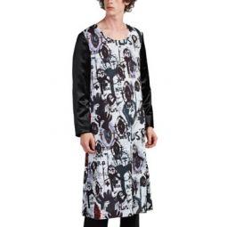 Graffiti-Print Velvet-Sleeve Dress