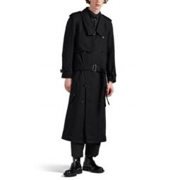 Wool-Blend Gabardine Dropped Trench Coat